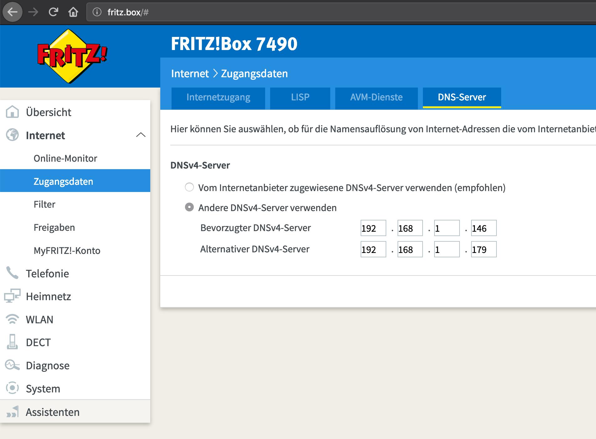FritzBox DNS-Server festlegen