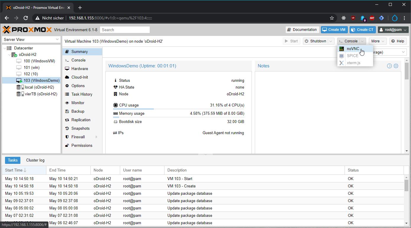 Übertrage die Bildschirmausgabe der virtuellen Maschine mit noVNC