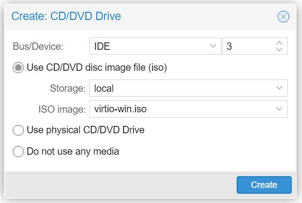Hinzufügen eines weiteren CD-Laufwerks mit virtio-win.iso unter Proxmox